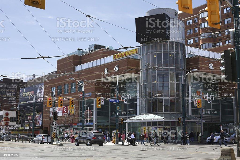 Intersection in Chinatown, Spadina Avenue, Toronto, Canada stock photo