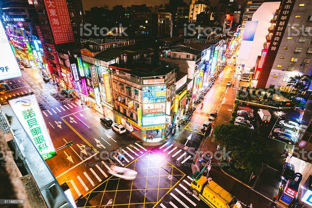 Intersection in Taipei, Taiwan stock photo