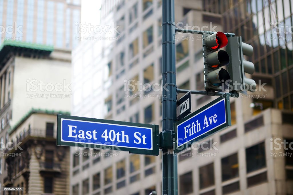 Intersection of East 40th street and 5th Ave in New York stock photo