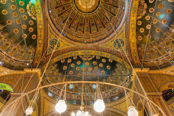 Intersection of four domes decorated with floral patterns, Muhammad Ali Mosque, Citadel of Cairo stock photo