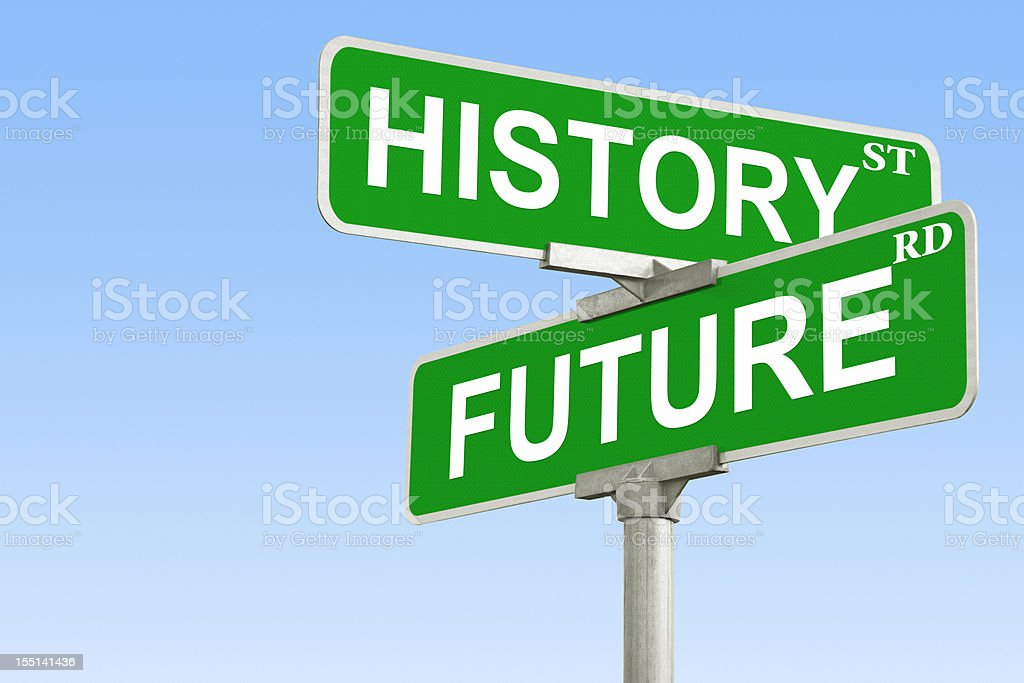 Intersection of History and Future stock photo