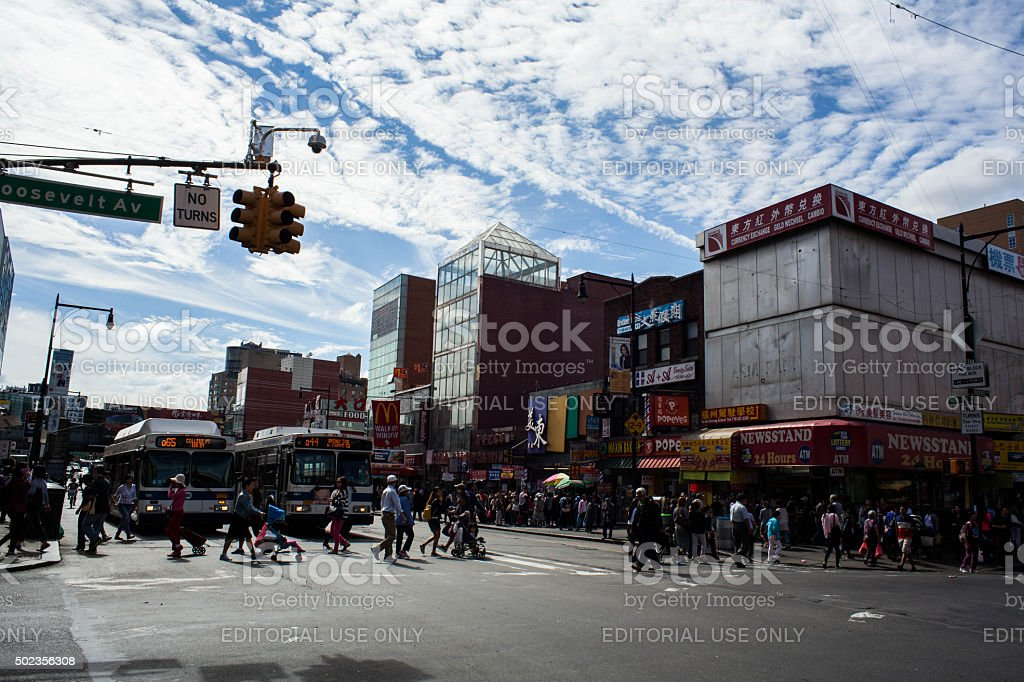 Intersection of Roosevelt and Main Street in Flushing Queens' Chinatown stock photo