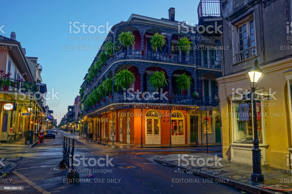 Intersection of St. Peter and Royal Streets in the French Quarter of New Orleans, Louisiana stock photo