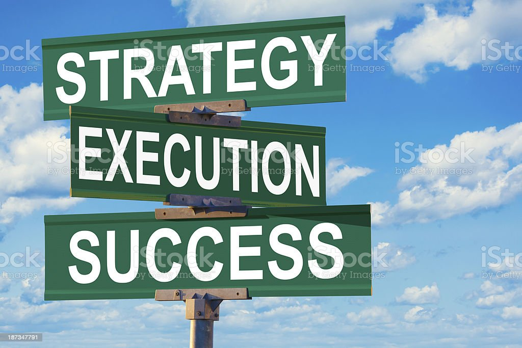 Intersection of Strategy, Execution, Success stock photo