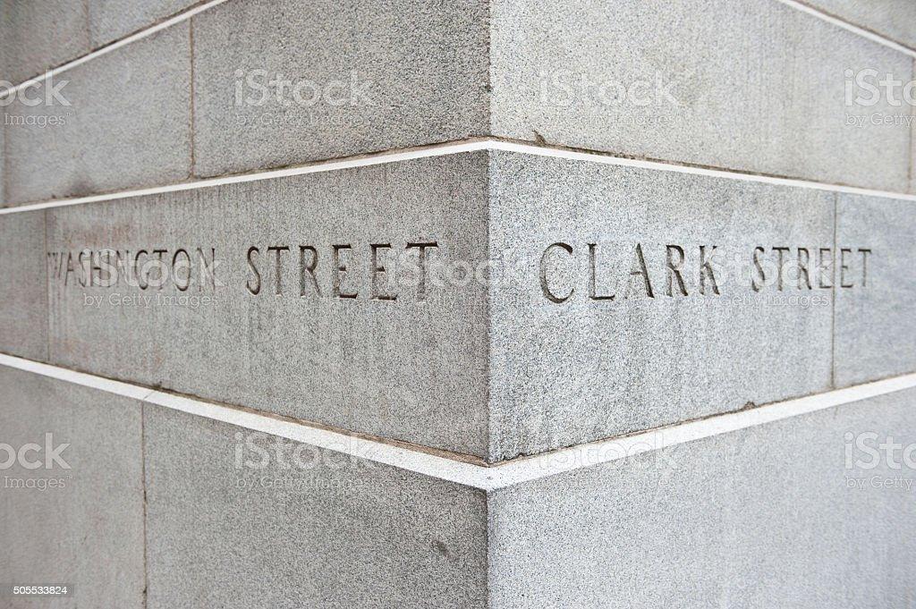 Intersection of Washington and Clark Street stock photo