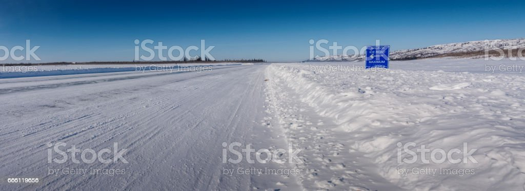 Intersection on the Mackenzie River Ice Road stock photo