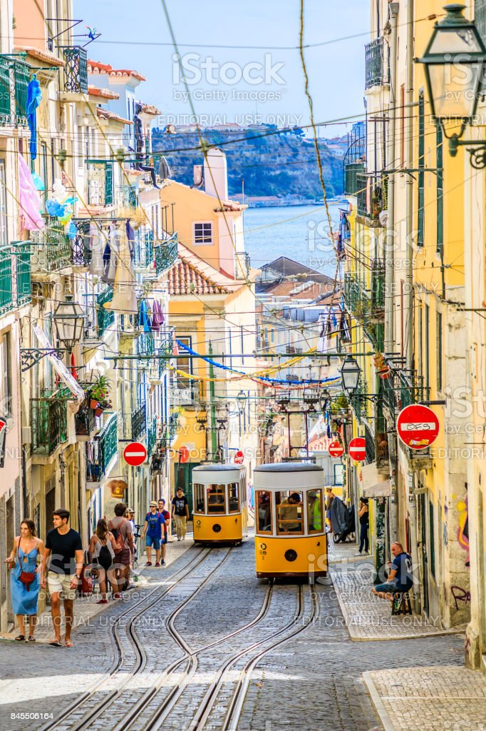 Intersection point Lisbon Funicular stock photo
