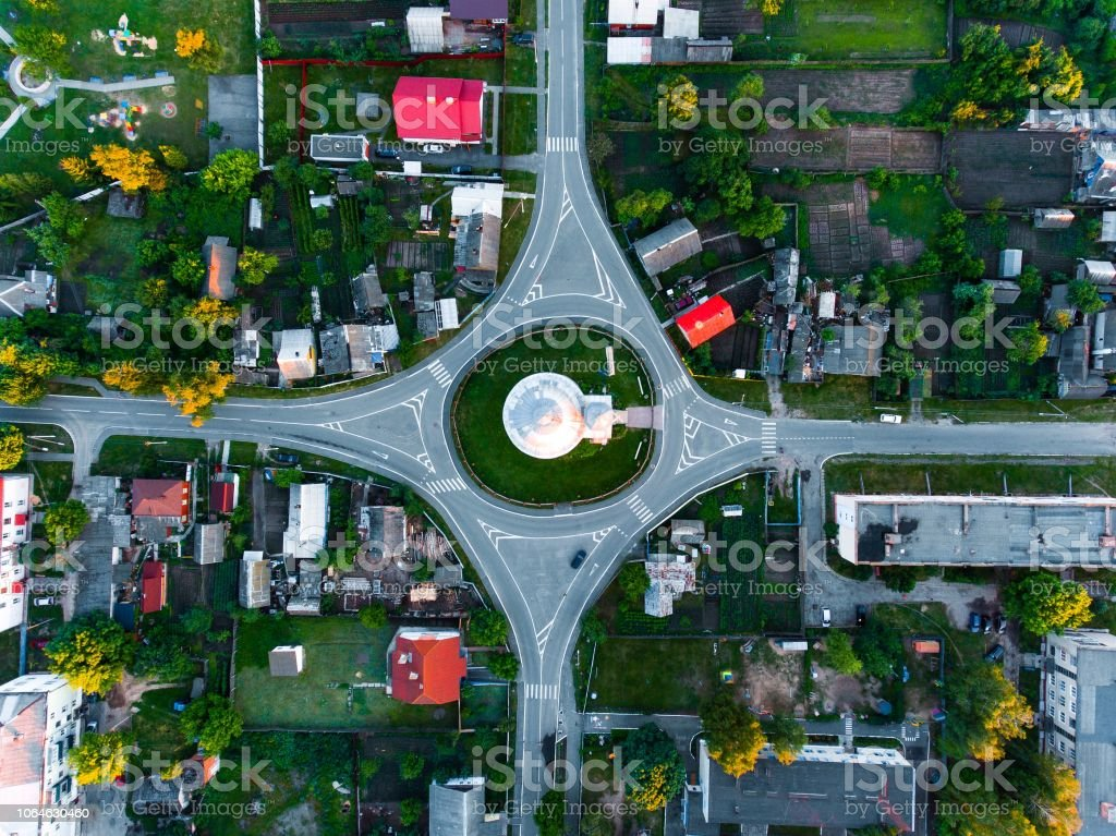 intersection, roundabout with height stock photo