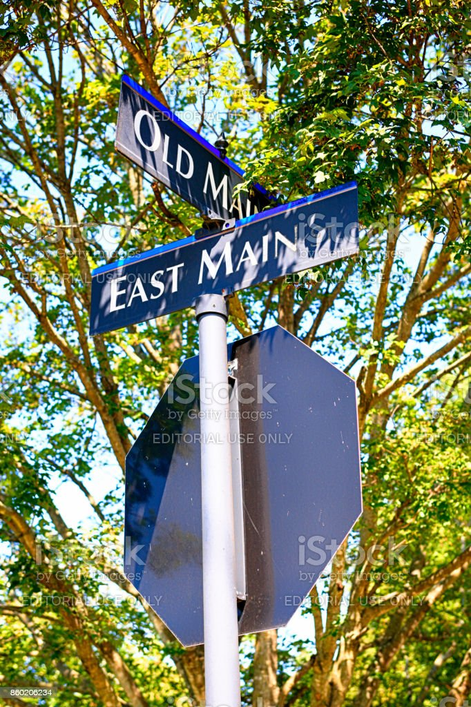 Intersection signpost at East and Old Main Street in Murfreesboro TN, USA stock photo