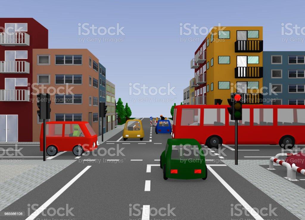 Kreuzung Mit Roter Nachberufliche. – Foto