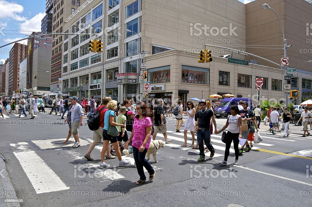 NYC Intersections, 14th Street & University Place, pedestrians crossing royalty-free stock photo