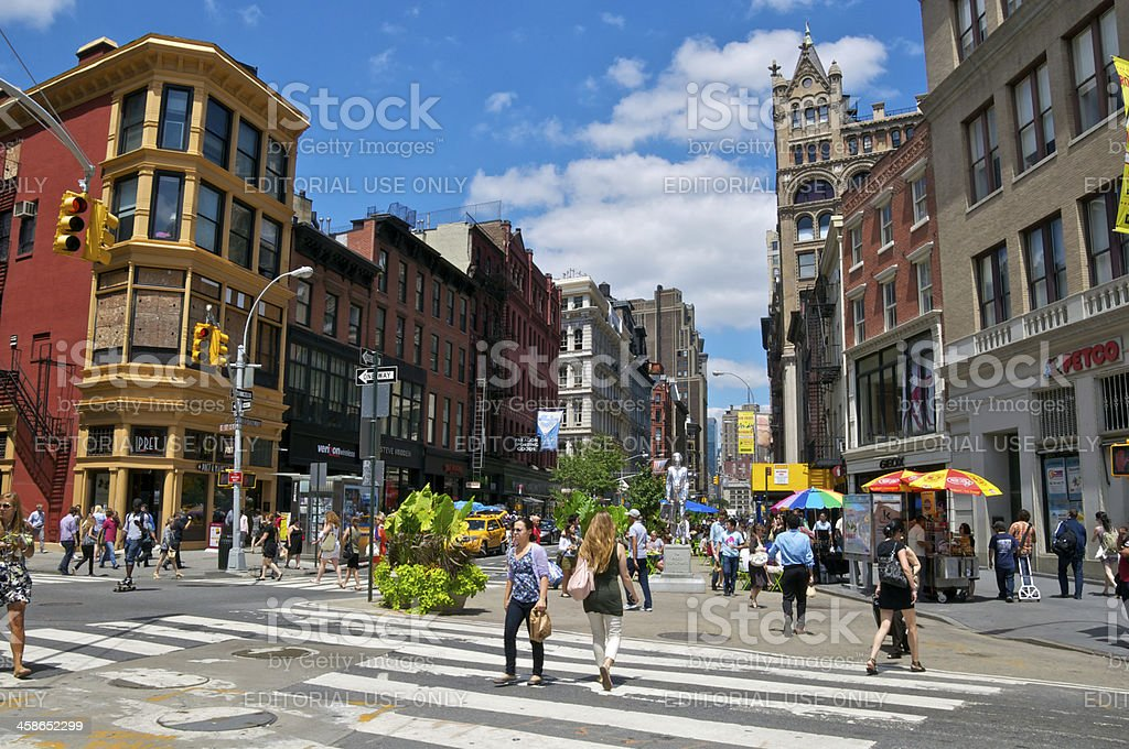 NYC Intersections, 17th Street & Broadway, pedestrians crossing royalty-free stock photo