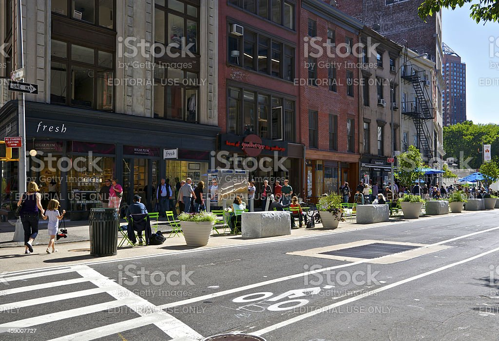 NYC Intersections, 18th St & Broadway Auto-Free zone with seating royalty-free stock photo