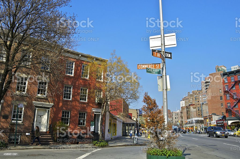 NYC Intersections, 7th Ave & Commerce Street, Greenwich Village, Manhattan stock photo