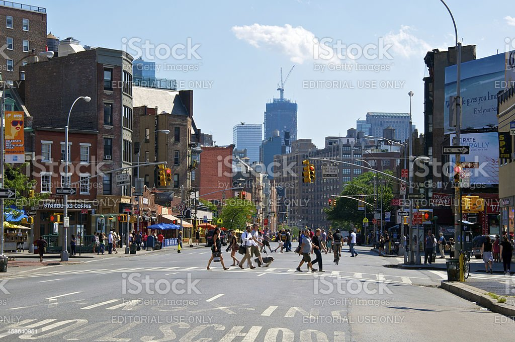 NYC intersections, 7th Ave & W.4th Street, Greenwich Village, Manhattan stock photo