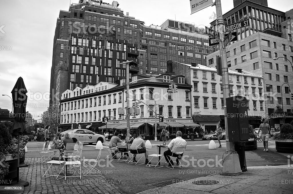 NYC Intersections, City Life, W.14th & Hudson Streets, Manhattan royalty-free stock photo