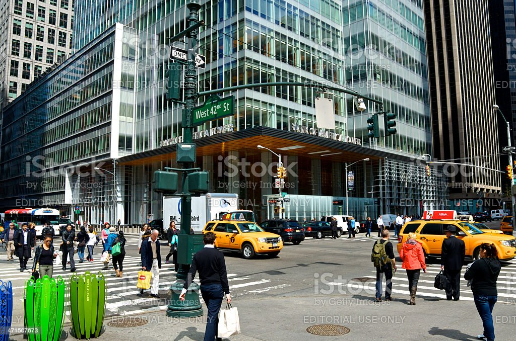 NYC Intersections, Pedestrians at 42nd Street & 6th Ave., Manhattan stock photo