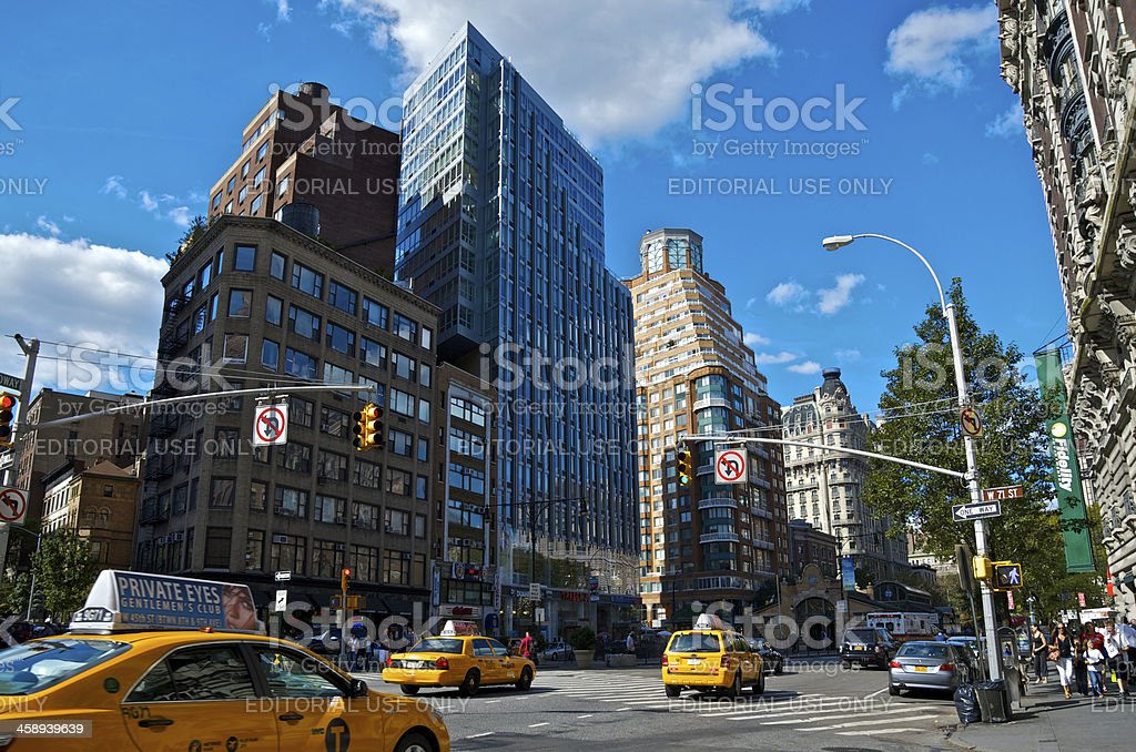 NYC Intersections, Taxis at 71st Street & Broadway, Manhattan royalty-free stock photo