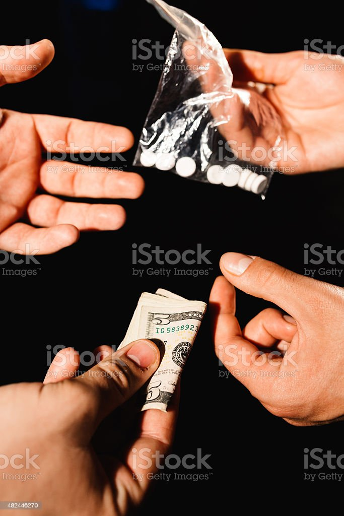 Seling drugs stock photo