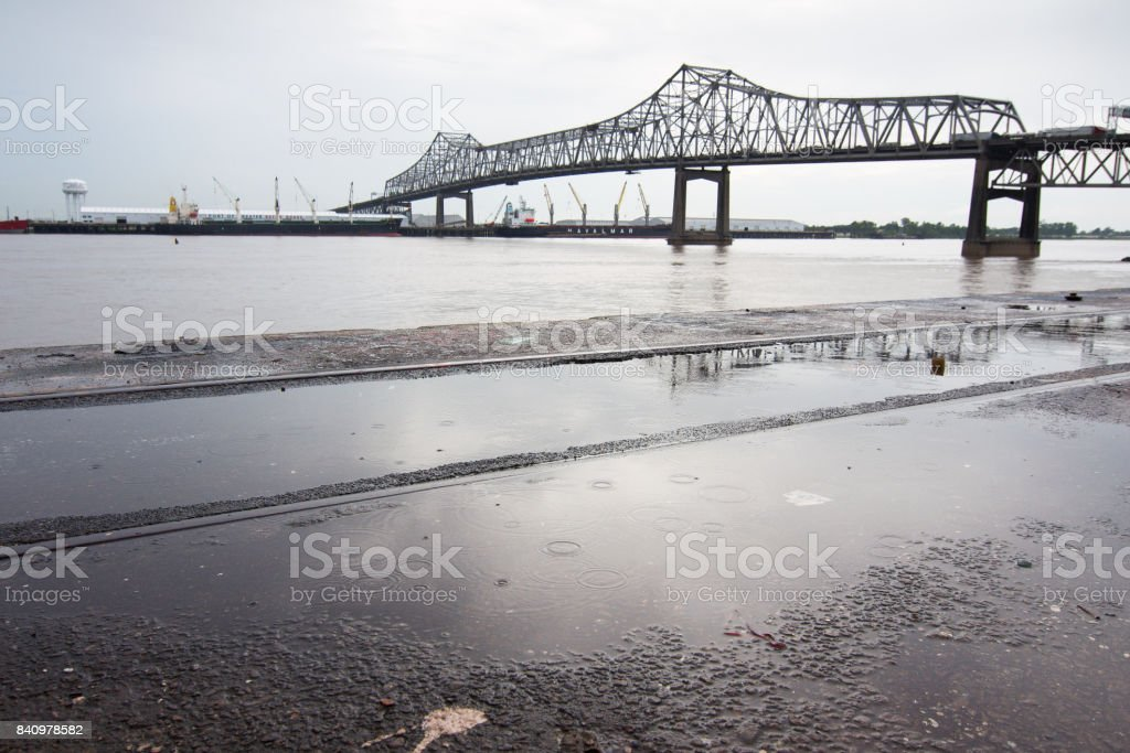 BATON ROUGE, USA - 2010: Interstate 10 bridge joining Baton Rouge and Port Allen across the Mississippi river in Louisiana. stock photo