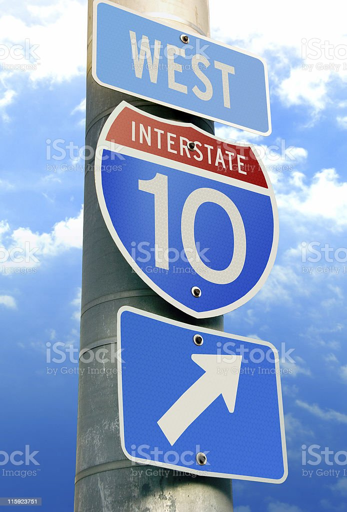 Interstate 10: Los Angeles, Houston, Jacksonville stock photo