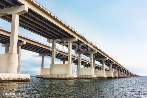 One of the main east-west thoroughfares crossing the United States, Interstate 10, as it spans Lake Pontchartrain just outside of New Orleans, Louisiana.