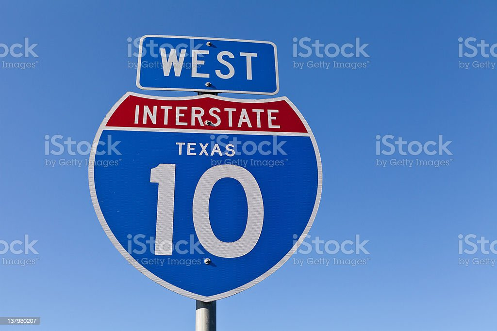 Interstate 10 West Sign stock photo