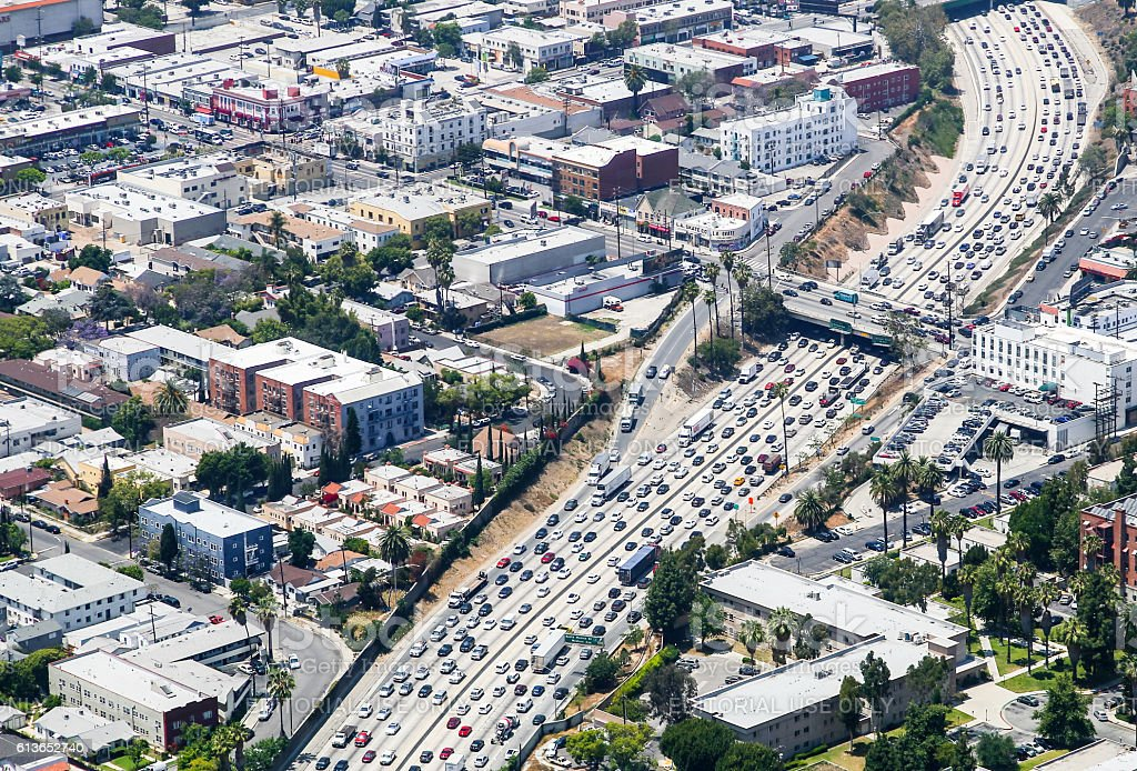 Interstate 110 in Los Angeles stock photo