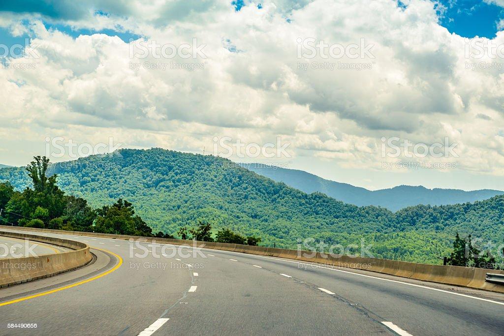 Interstate 40 at Pisgah Mountains in Buncombe County, North Carolina stock photo