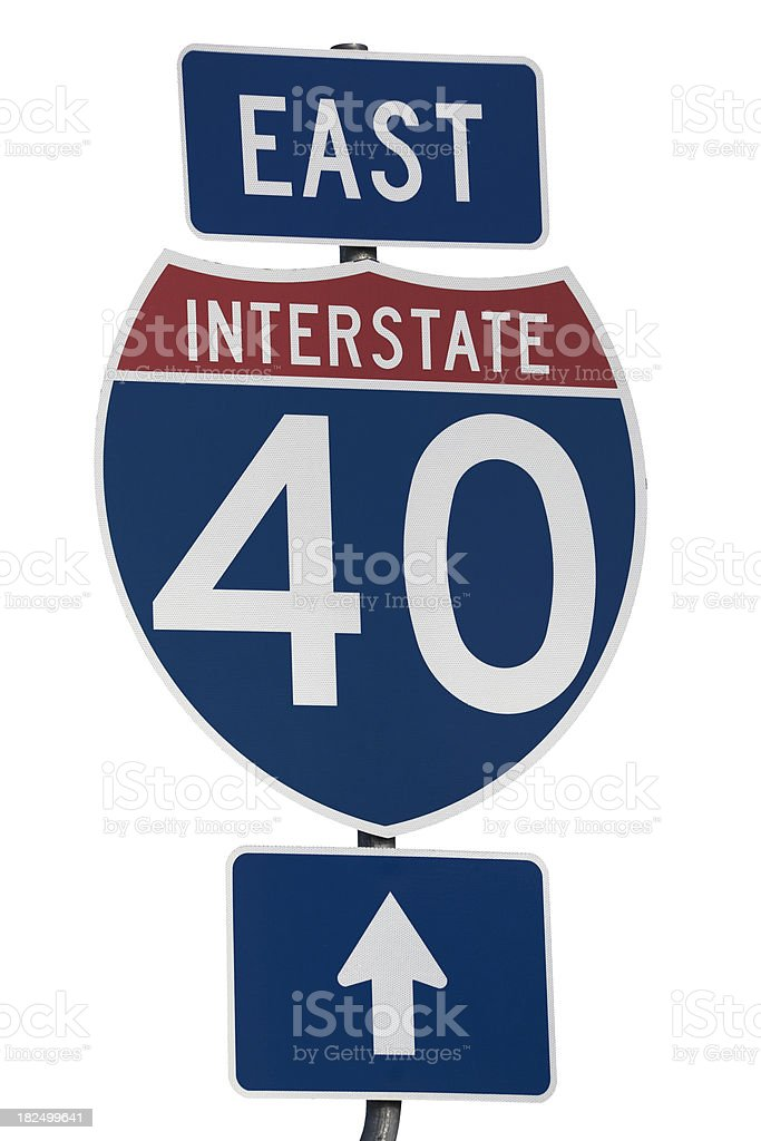 interstate 40 east highway road sign stock photo