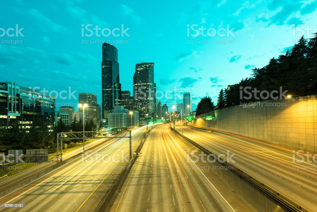 Interstate 5 and downtown Seattle at dawn stock photo