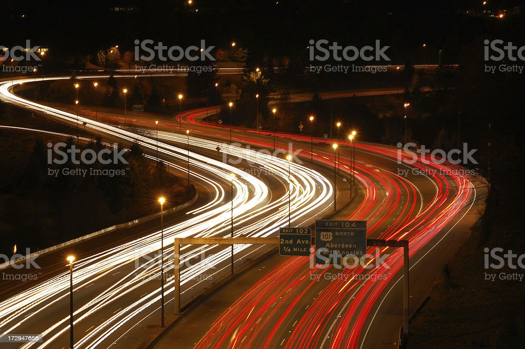 Interstate 5 and Highway 101 at night stock photo