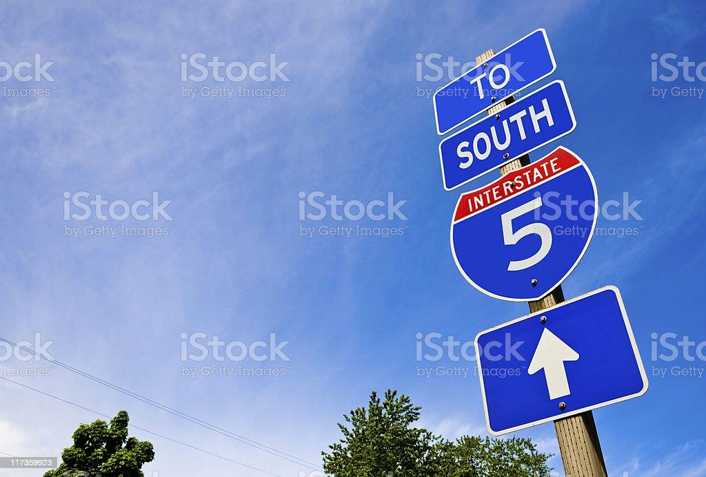Interstate 5 Arrow Sign stock photo