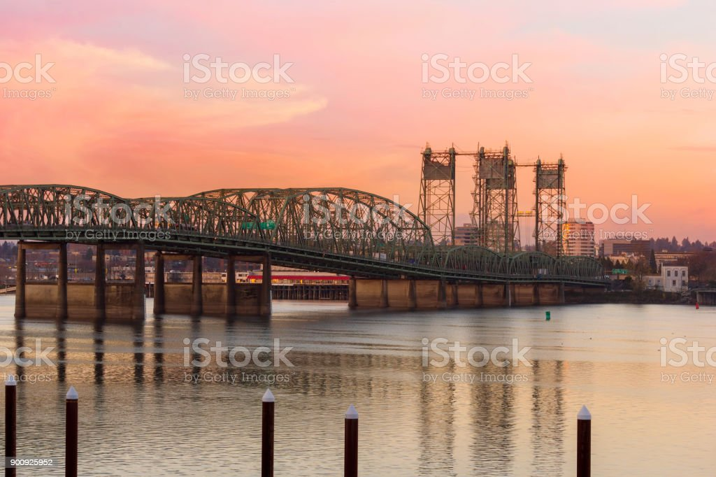 Interstate 5 Bridge over Columbia River between Oregon and Washington State stock photo