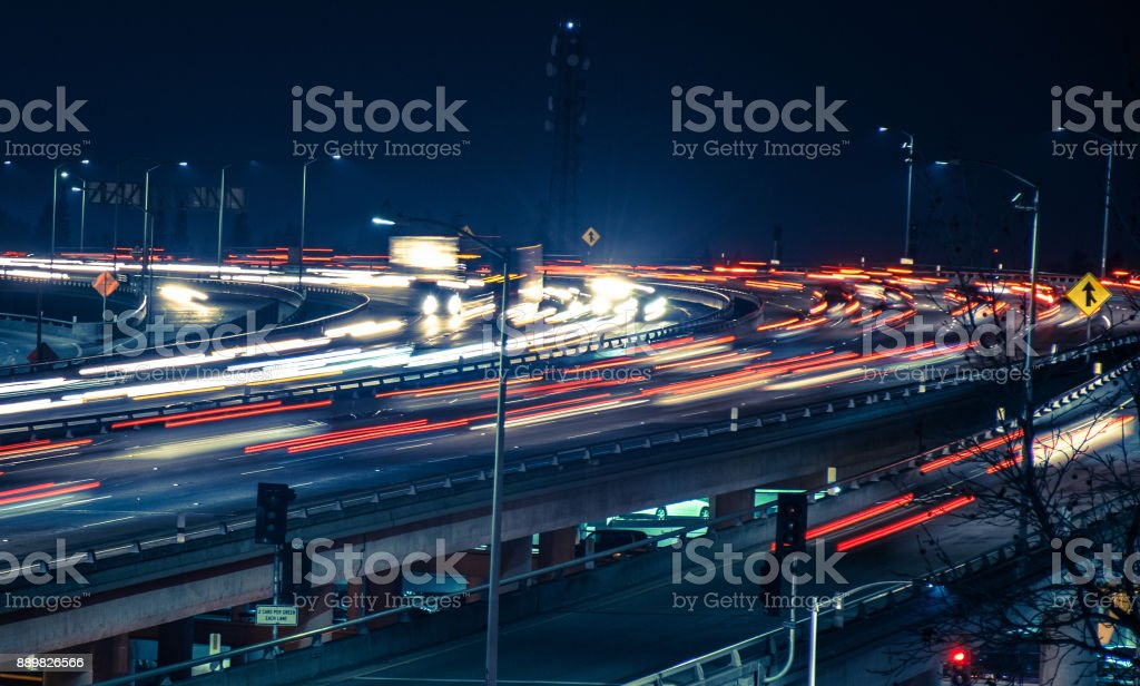 Interstate 5 busy traffic stock photo