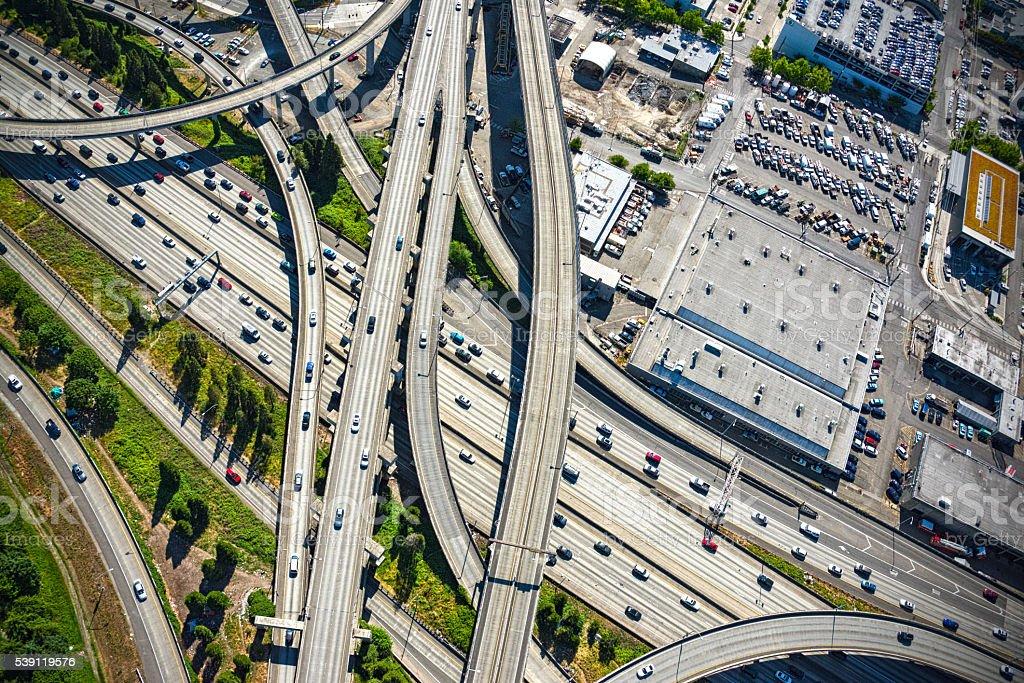 Interstate 5 Freeway Interchange Seattle Washington stock photo