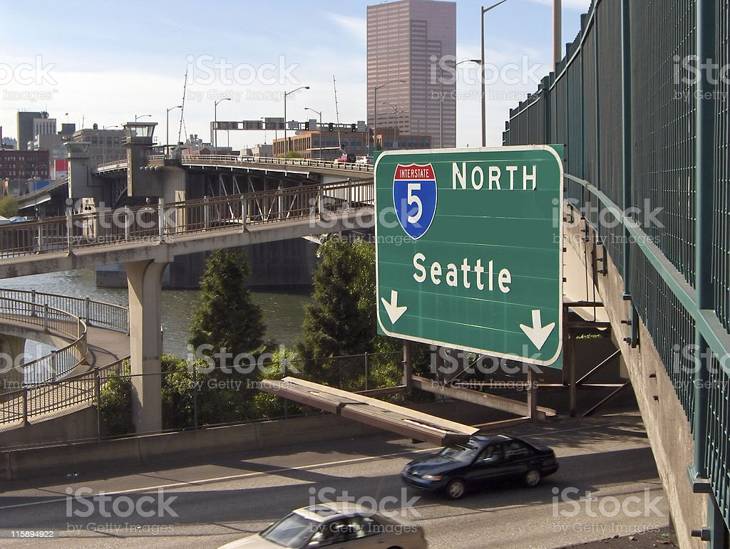 Interstate 5: Portland to Seattle royalty-free stock photo