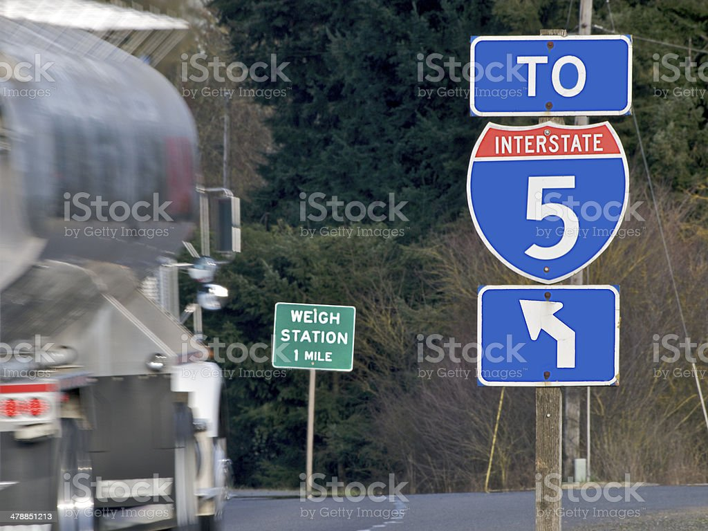 Interstate 5 Sign and Weigh Station Sign with Truck Blur stock photo