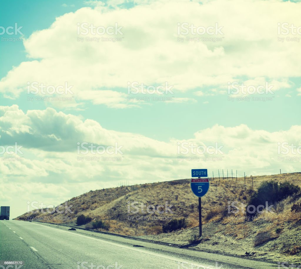 Interstate 5 sign in Pacific Coast Highway stock photo
