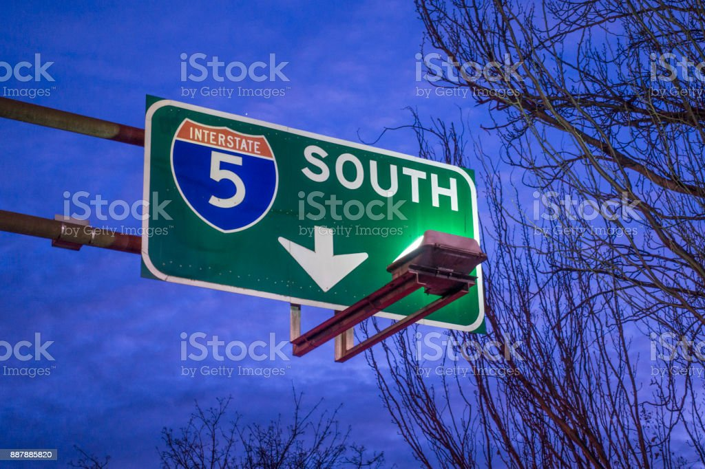 Interstate 5 South Road Traffic Sign Close-up Pointing Downwards stock photo