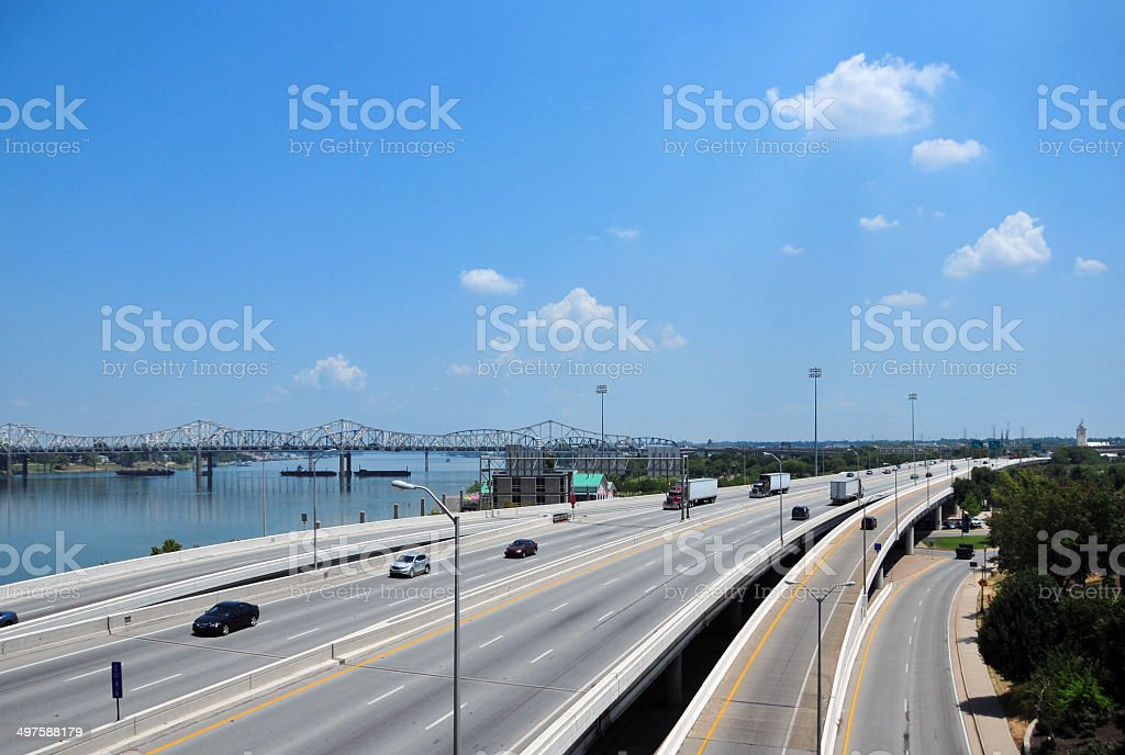 Interstate 64 and the Ohio river stock photo