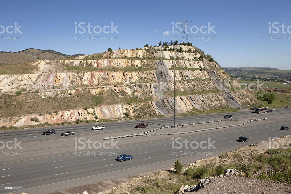 Interstate 70 highway road cut through hogback west of Denver stock photo
