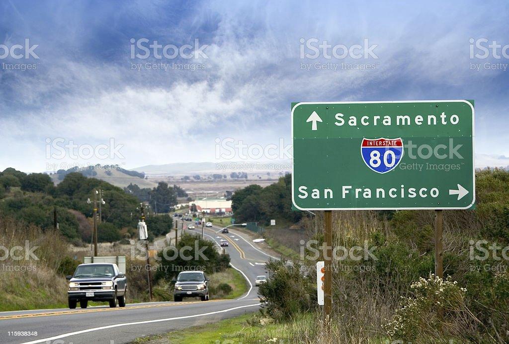 Interstate 80: Sacramento, San Francisco royalty-free stock photo