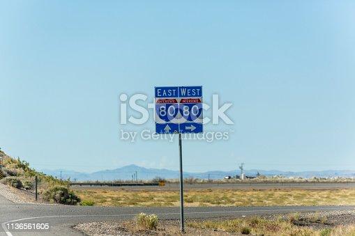 Interstate 80 traffic sign on highway between utah and nevada USA America
