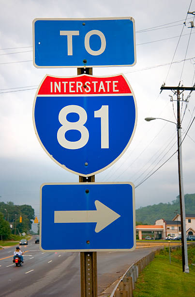 interstate 81 road sign - scranton pa stock photos and pictures