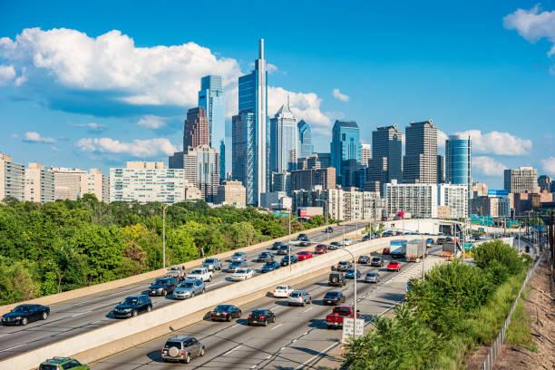 Interstate and Downtown Philadelphia Pennsylvania USA stock photo