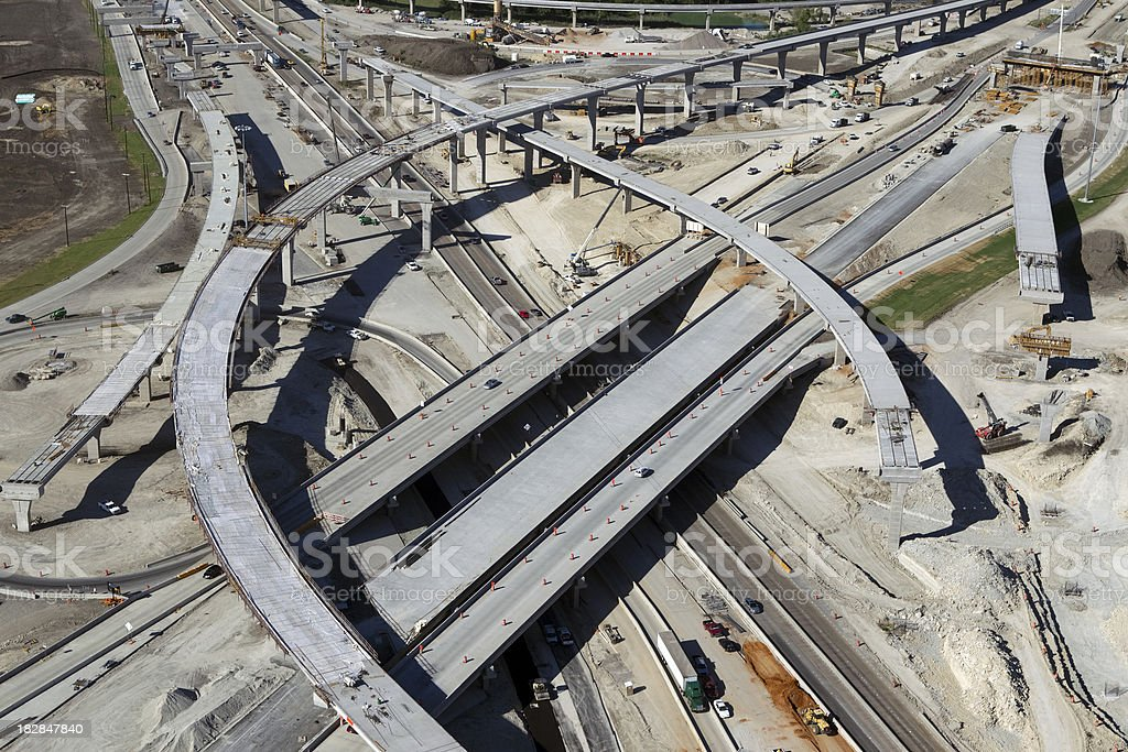 Interstate Highway and Bridge Construction stock photo