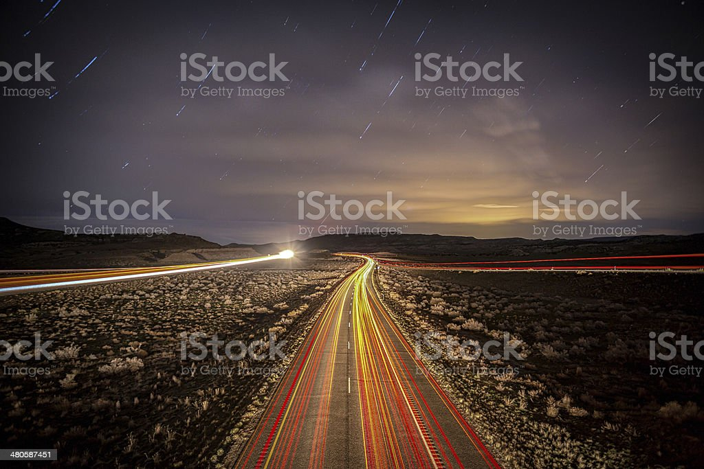 Interstate Highway at Night stock photo