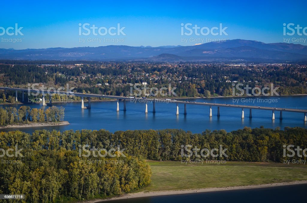 Interstate Highway bridge over the Columbia River stock photo