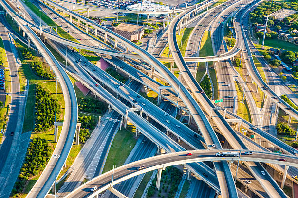 Interstate Highway Interchange I10 I410 convoluted mixmaster San Antonio aerial Aerial view of San Antonio, TX, interstate highway system. san antonio texas stock pictures, royalty-free photos & images